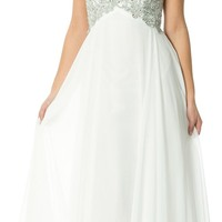 Applique Lace Crystal Long Prom Bridesmaid Dress, 3X, White-Silver