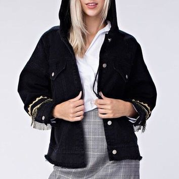 Honey Punch Denim Jacket with Detailing on Sleeves