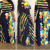 Plus Size Navy Striped MultiColored Maxi Dress With Belt & Pockets Size 2XL