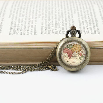 World Map Pocket Watch Necklace, Antique Map Necklace, Globe Necklace