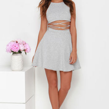 Drawn at Dawn Heather Grey Two-Piece Dress