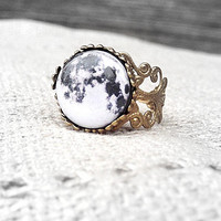 Full Moon Ring- Moon Ring - Moon Stone - Space Jewelry - Moon Jewelry - Galaxy Jewelry - I love you to the moon and back -