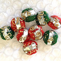 Christmas Beads - Glass, Red, Green, Gold. Silver - 8 Beads.