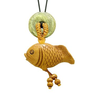 Fortune Cute Fish Car Charm or Home Decor Golden Pyrite Iron Lucky Coin Donut Protection Powers Amulet