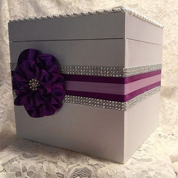 Wedding Shower Gift Card Box : ... Card Box, Rhinestone Mesh Trim, Gift card box, Bridal shower card box