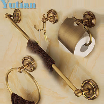 Free shipping solid brass Bathroom Accessories Set Robe hook Paper Holder Towel Bar Soap basket bathroom sets YT-12200-A