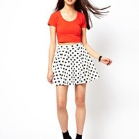 River Island Polka Dot Textured Skater Skirt at asos.com