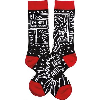 I'm Not Anti-Social - I'm Anti-Idiot Socks in Black, White and Red