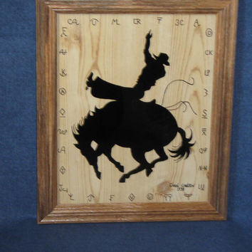 """Silhouette on Glass, """"Bronco Buster"""", Decorative Arts, Wall Decor, Rodeo Art"""