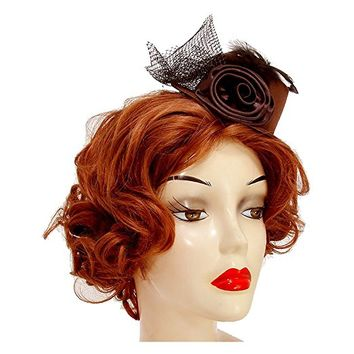 Brown Petite Flower Mesh Bow Clip Hat Fascinator