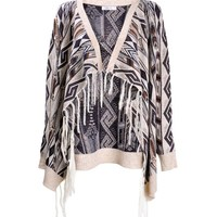 ZLYC Women's Bohemian Geometric Stripe Blanket Wrap Multifunctional Cardigan with Metallic Thread Detail