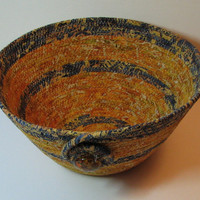 Coiled Fabric Basket, Coiled Fabric Bowl, decorative bowl, gold/blue