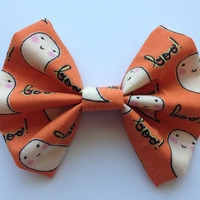 Girl's Orange Halloween Ghost Fabric Hair Bow