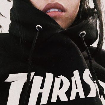 ThrasherNew Flame thickening hoodies sweater Two lines of letters Black