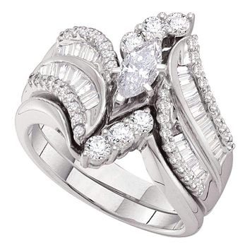 14kt White Gold Women's Marquise Diamond Bridal Wedding Engagement Ring Band Set 1-1/2 Cttw - FREE Shipping (US/CAN)
