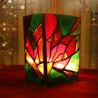 Stained Glass Poinsettia Vase/Candleholder, mosaic poinsettia candle holder