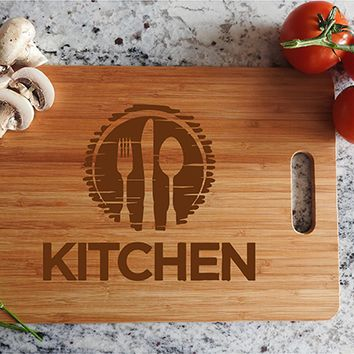 ikb421 Personalized Cutting Board Wood knife fork spoon kitchen equipment Restaurant