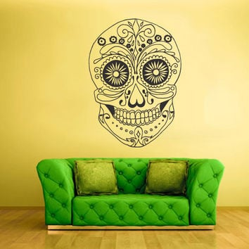 Wall Decal Mural Sticker Beautyfull Cute Sugar Skull Bedroom Curly Menhdi fashion (z2047)