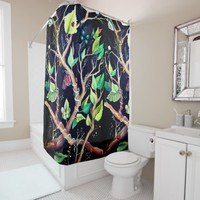 Leaves and butterflies painting shower curtain