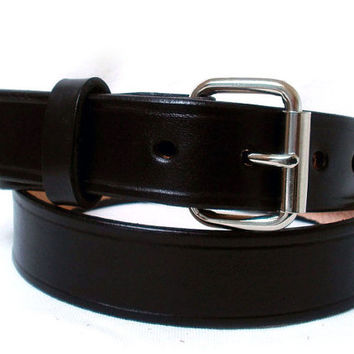 "Men's leather belt, 1 1/4"" wide, black, steel roller buckle, womens leather belt, black leather belt"