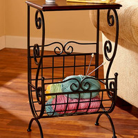 End Table Metal Wood Modern Accent Magazine Rack Black Storage