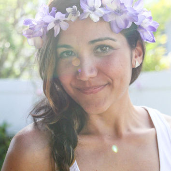 Floral Crown Lavender Purple Lilac Flower Headband / Gift for Her / Summer