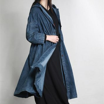 Yesno JT4 Women Denim Hoodie Trench Coat Jacket 100% Cotton Button-Down Casual Loose Fit Long Kimono Sleeve Side Pockets