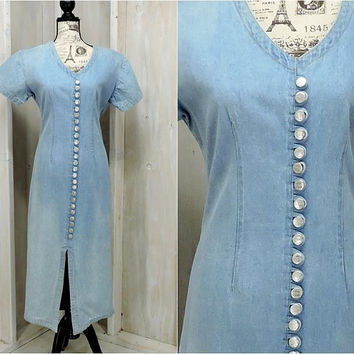 Vintage 80s denim dress / size M / L 12 / 14 / Long jean dress / Boho / Western