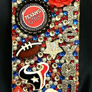 Houston Texans Girly Crystal Case iPhone 4/4s/5/5s/5c, Samsung Galaxy s3/s4/s5