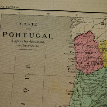 PORTUGAL old map of Portugal - 1878 original hand colored antique map of Portugal Lisbon Porto Faro - vintage poster maps - vieille carte de