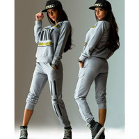 Casual Women Letter Printed Sports Tops Sweatshirt+Pants Tracksuit &Sweat Suits 2Pcs Tracksuit O-neck jogger sportswear set DM#6