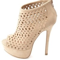 Laser Cut-Out Peep Toe Platform Heels by Charlotte Russe - Natural