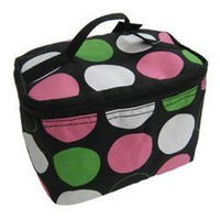 PINK GREEN POLKADOT SMALL COSMETIC CASE MAKEUP BAG   on eBay!