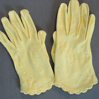 50s Pale Yellow Beaded Gloves, Size 6-1/2 Lilly Dache Vintage 1950s Cotton Dress Gloves