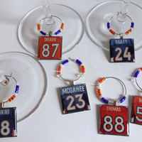 Denver Broncos Wine Charm Set