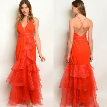 Large L Red Ruffle Organza Formal Event Ball Prom Dress