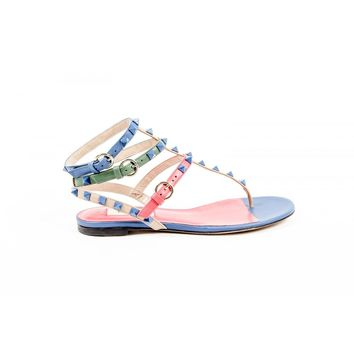 Multi Color 36 EUR - 6 US Valentino Womens Ankle Strap Flat Sandal KW2S0812 VHE S64
