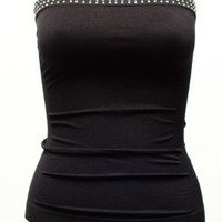 Ladies Black Seamless Stone Set Tube Top