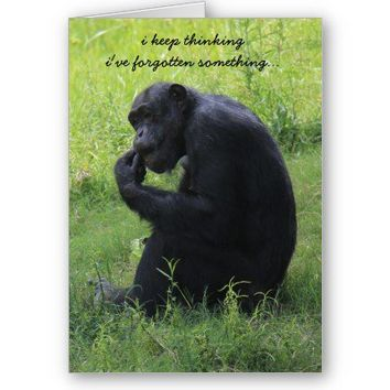Funny Gorilla (the thinker) Belated Birthday Card from Zazzle.com
