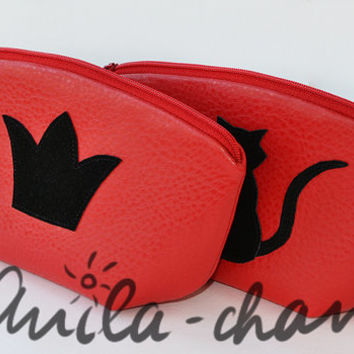 "Leatherette pouch, Hot red cosmetic bag , ""Сrown"" or ""Cat"""