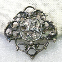 """Vintage Late 1900's, Viking/Warrior on Horse Slaying a Dragon Brooch, 830 Silver, signed H, 1.5"""" Old World"""