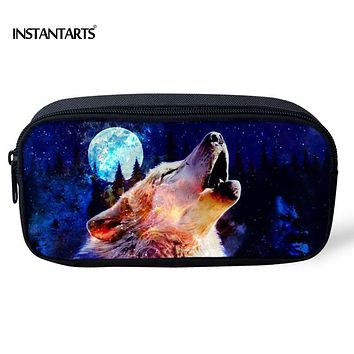 INSTANTARTS Cool Animal 3D Wolf Printing Storage Pen Pouch for Children Designer Boys Pencil Case Universe Space School Supplies