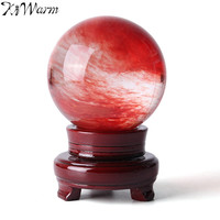 KiWarm 10cm Red Lemon Stone Quartz Crystal Sphere Ball Healing Gemstone with Stand Luck Statues Ball Fengshui Home Decoration