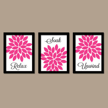 Hot Pink Black Bathroom Wall Art Canvas Artwork Relax Soak Unwin