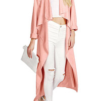 Pink Lapel Trench Coat with Belt