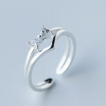 Fashion zircon bowknot 925 sterling sliver ring,a perfect gift
