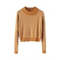 Round-neck Cropped Slim Stripe Sweater