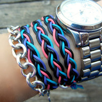 Spring Braided Leather 3 Wrap Bracelet with Black Purple Turquoise and Pink Leather
