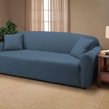 Royal Blue Jersey Loveseat Stretch Slipcover