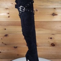 "Astra OTK High Heel Thigh Boots 4.5"" Stiletto Belt Strap Design Black"